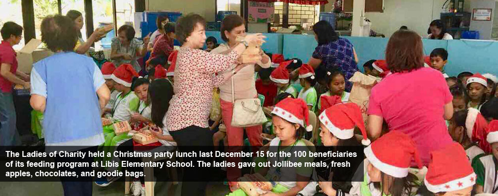 The Ladies of Charity held a Christmas party lunch last December 15 for the 100 beneficiaries of its feeding program at Libis Elementary School. The ladies gave out Jollibee meals, fresh apples, chocolates, and goodie bags.